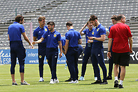 The Scotland U21 squad inspect the pitch pre-match during South Korea Under-21 vs Scotland Under-21, Tournoi Maurice Revello Football at Stade Parsemain on 2nd June 2018