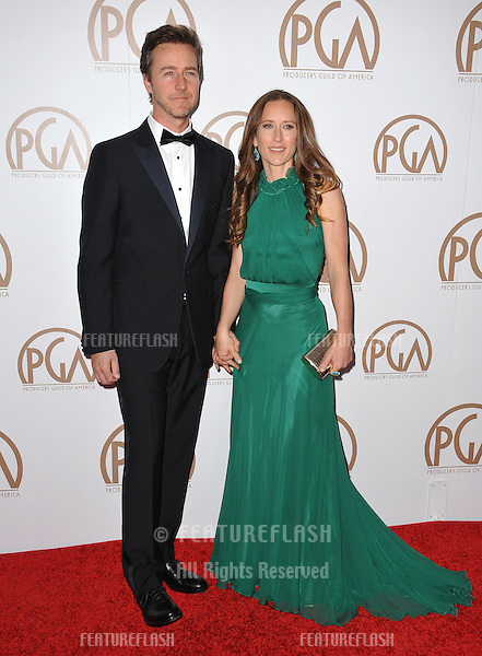 Edward Norton &amp; wife Shauna Robertson at the 26th Annual Producers Guild Awards at the Hyatt Regency Century Plaza Hotel.<br /> January 24, 2015  Los Angeles, CA<br /> Picture: Paul Smith / Featureflash