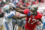 Tampa Bay Buccaneers wide receiver Arrelious Benn (17) draws a facemask penalty from Detroit Lions cornerback Chris Houston (23)during an NFL football game between the Buccaneers and the Lions Sunday in Tampa, Fla, December 19, 2010. The Lions defeated the Buccaneers 23-20 in overtime. (AP/Margaret Bowles)