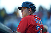 Boston Red Sox coach Ruben Amaro (20) in the dugout during a Spring Training game against the Pittsburgh Pirates on March 9, 2016 at McKechnie Field in Bradenton, Florida.  Boston defeated Pittsburgh 6-2.  (Mike Janes/Four Seam Images)