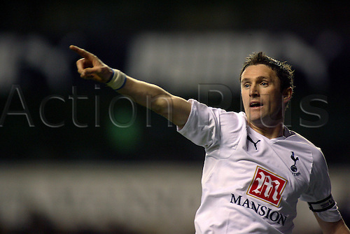 19 March 2008: Spurs striker Robbie Keane pointing during the Premier League game between Tottenham Hotspur and Chelsea, played at White Hart Lane. The game finished 4-4. Photo: Actionplus....080319 football soccer player premiership