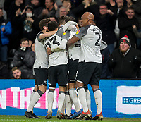 31st January 2020; Pride Park, Derby, East Midlands; English Championship Football, Derby County versus Stoke City; Jayden Bogle of Derby County celebrates with his team after scoring in the 74th minute for 4-0