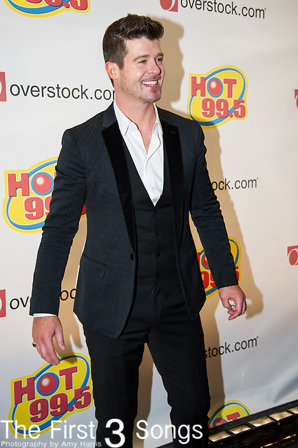 Robin Thicke attends the Hot 99.5's Jingle Ball 2013 presented by Overstock.com, at the Verizon Center on December 16, 2013 in Washington, D.C.
