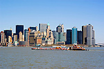 New York City, New York:  Barge passes skyline of New York lower manhattan post 9-11   .Photo #: ny296-15028  .Photo copyright Lee Foster, www.fostertravel.com, lee@fostertravel.com, 510-549-2202.