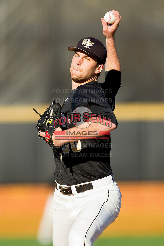 Wake Forest Demon Deacons starting pitcher Justin Van Grouw #30 in action against the Maryland Terrapins at Wake Forest Baseball Park on March 10, 2012 in Winston-Salem, North Carolina.  (Brian Westerholt/Sports On Film)
