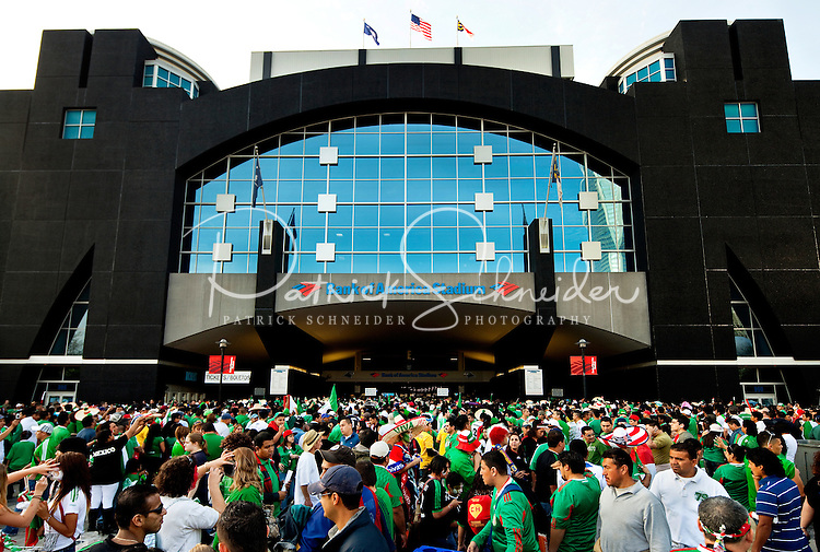 Futbol (soccer) fans showed up by the thousands on March 24, 2010, when Iceland vs. Mexico during an international exhibition game held a Bank of America Stadium in Charlotte, North Carolina. .