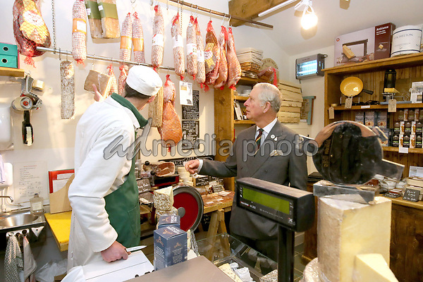 22 March 2017 - Yorkshire, UK - Prince Charles, Prince of Wales visits a restored farmstead which houses local businesses during his official visit to Yorkshire at The Courtyard in Settle, Yorkshire.  The Courtyard is home to various artisan businesses including a brasserie, wine shop, cheesemonger, furniture makers, garden shop, gallery and clothing shop. Photo Credit: Alpha Press/AdMedia