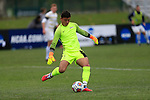 KANSAS CITY, MO - DECEMBER 03:  Goalie Pablo Sara (1) of Wingate University kicks the ball against the University of Charleston during the Division II Men's Soccer Championship held at Children's Mercy Victory Field at Swope Soccer Village on December 03, 2016 in Kansas City, Missouri. Wingate beat Charleston 2-0 to win the National Championship. (Photo by Jack Dempsey/NCAA Photos via Getty Images)