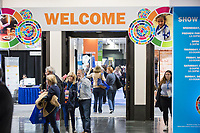 People enter the vendor exhibition hall at the Union for Reform Judaism Biennial 2017 in the Hynes Convention Center in Boston, Mass., USA, on Wed., Dec. 6, 2017.