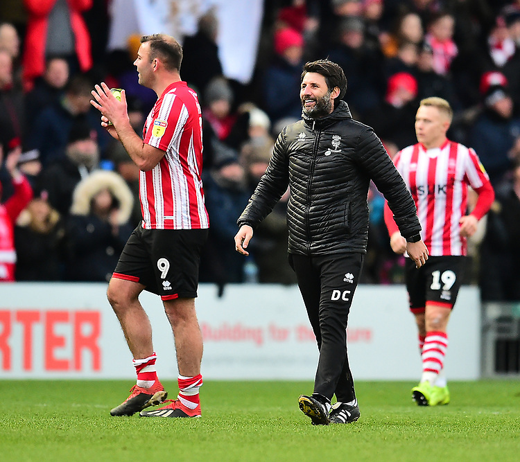 Lincoln City's Matt Rhead, left, and Danny Cowley applaud the fans at the final whistle<br /> <br /> Photographer Andrew Vaughan/CameraSport<br /> <br /> The EFL Sky Bet League Two - Lincoln City v Grimsby Town - Saturday 19 January 2019 - Sincil Bank - Lincoln<br /> <br /> World Copyright &copy; 2019 CameraSport. All rights reserved. 43 Linden Ave. Countesthorpe. Leicester. England. LE8 5PG - Tel: +44 (0) 116 277 4147 - admin@camerasport.com - www.camerasport.com