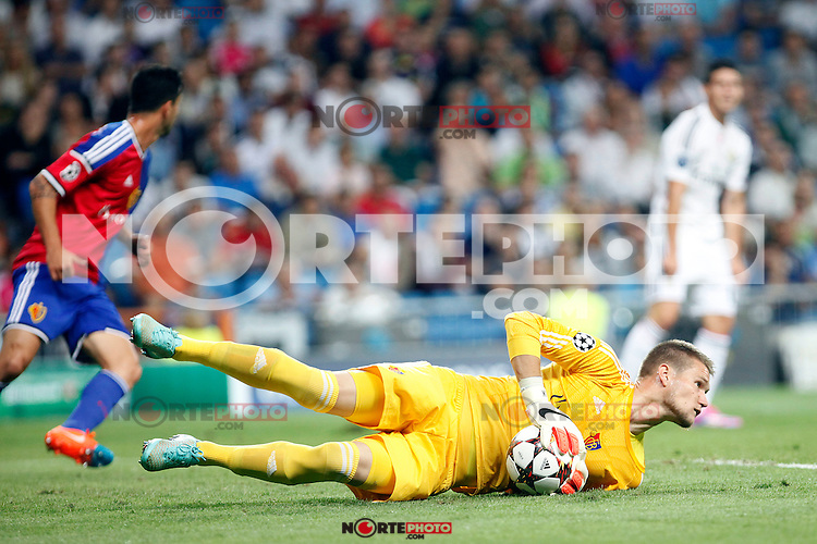 Tomas Vaclik of FC Basel 1893 during the Champions League group B soccer match between Real Madrid and FC Basel 1893 at Santiago Bernabeu Stadium in Madrid, Spain. September 16, 2014. (ALTERPHOTOS/Caro Marin) /NortePhoto.com