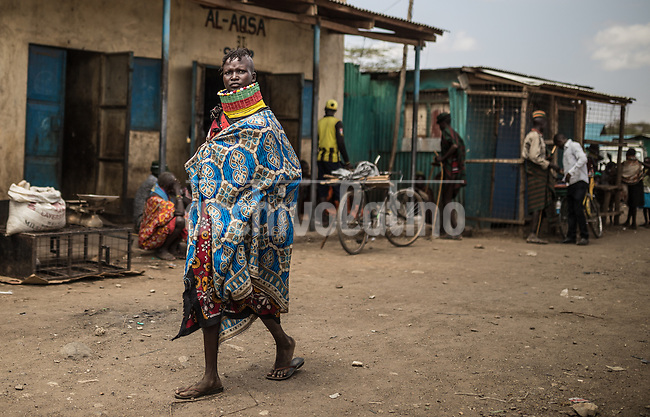 A street scene in   Kakuma, Kenya.Kakuma refugee camp in North of Kenya. Kakuma is the site of a UNHCR refugee camp, established in 1991. The population of Kakuma town was 60,000 in 2014, having grown from around 8,000 in 1990. In 1991, the camp was established to host the 12,000 unaccompanied minors who had fled the war in Sudan and came walking from camps in Ethiopia.