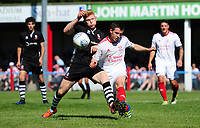 Lincoln City's Elliott Whitehouse vies for possession with Lincoln United's Luke Hornsey<br /> <br /> Photographer Chris Vaughan/CameraSport<br /> <br /> Football - Pre-Season Friendly - Lincoln United v Lincoln City - Saturday 8th July 2017 - Sun Hat Villas Stadium - Lincoln<br /> <br /> World Copyright &copy; 2017 CameraSport. All rights reserved. 43 Linden Ave. Countesthorpe. Leicester. England. LE8 5PG - Tel: +44 (0) 116 277 4147 - admin@camerasport.com - www.camerasport.com