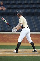 Johnny Aiello (2) of the Wake Forest Demon Deacons at bat against the Virginia Cavaliers at David F. Couch Ballpark on May 19, 2018 in  Winston-Salem, North Carolina. The Demon Deacons defeated the Cavaliers 18-12. (Brian Westerholt/Four Seam Images)