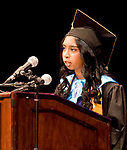 WATERBURY, CT-062017JS16- Waterbury Career Academy Valedictorian Diana Persaud givers her address during graduation ceremonies Tuesday at the Palace Theatre in Waterbury. <br /> Jim Shannon Republican-American