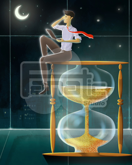 Illustrative image of businessman sitting in top of hourglass representing workaholic man