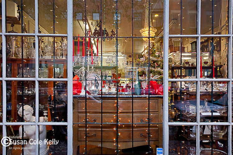 Christmas decorations at an antique shop on Beacon Hill, Boston, MA