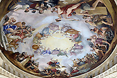 The Apotheosis of Washington, painted in 1865 by Constantino Brumidi, located at the top of the recently restored US Capitol dome, is seen from one of the upper levels of the dome during a tour, on November 15, 2016 in Washington, D.C.<br /> Credit: Olivier Douliery / Pool via CNP