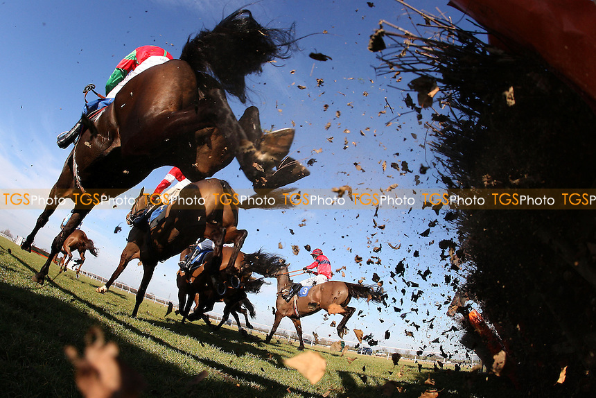 The field in jumping action during the Domenico Adorno 85th Birthday Novices' Handicap Hurdle - Horse Racing at Huntingdon Racecourse, Cambridgeshire - 23/02/12- MANDATORY CREDIT: Gavin Ellis/TGSPHOTO - Self billing applies where appropriate - 0845 094 6026 - contact@tgsphoto.co.uk - NO UNPAID USE.