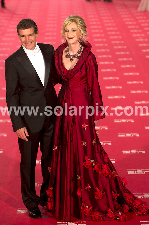 **ALL ROUND PICTURES FROM SOLARPIX.COM**                                             **WORLDWIDE SYNDICATION RIGHTS EXCEPT SPAIN - NO SYNDICATION IN SPAIN**                                                                                  19/02/2012. Stars arrive for the 26th  Goya Film Awards in Madrid, Spain.                                                                          This pic:  Antonio banderas and Melanie Griffith                                                                                            JOB REF:  14487   DMS Drake/Dolores DATE: 20.02.12                                                           **MUST CREDIT SOLARPIX.COM OR DOUBLE FEE WILL BE CHARGED**                                                                      **MUST AGREE FEE BEFORE ONLINE USAGE**                               **CALL US ON: +34 952 811 768 or LOW RATE FROM UK 0844 617 7637**