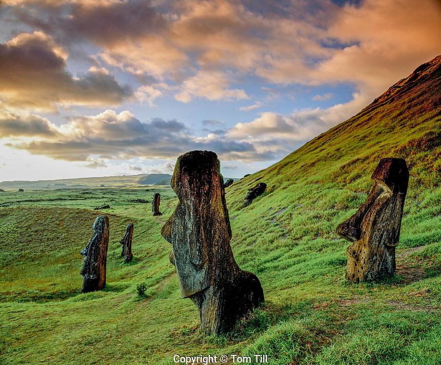 Moai statues at Rano Raraku, Rapa Nui National Park, Easter Island, Chile