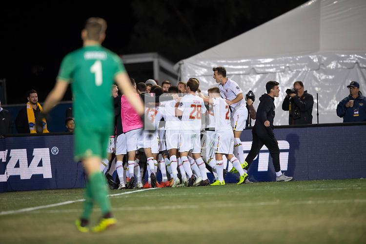 Santa Barbara, CA - Sunday, December 9, 2018:  Maryland won the 2018 Men's College Cup, defeating Akron 1-0.  Maryland celebrates Amar Sejdic's penalty kick goal.