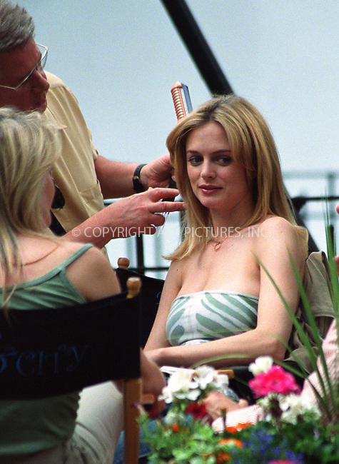 """British Actress Heather Graham on the set of """"Sex and The City"""" in New York. June 17, 2002. Please byline: Alecsey Boldeskul/NY Photo Press.   ..*PAY-PER-USE*      ....NY Photo Press:  ..phone (646) 267-6913;   ..e-mail: info@nyphotopress.com"""
