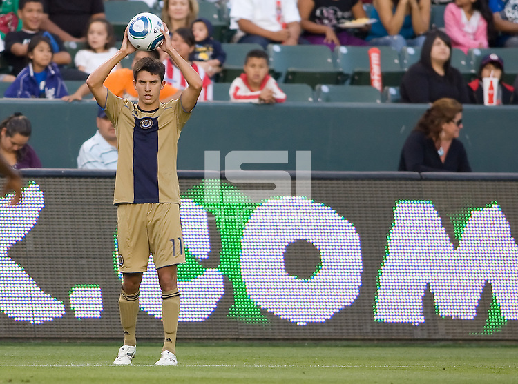 Philadelphia Union defender Shea Salinas (11) setting up a throw in. The Philadelphia Union and CD Chivas USA played to 1-1 draw at Home Depot Center stadium in Carson, California on Saturday evening July 3, 2010..