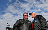 Feb 15, 2007; Daytona, FL, USA; Nascar Nextel Cup Series driver James Hylton (58) talks with car owner Richard Childress prior to race one of the Gatorade Duel at Daytona International Speedway. Mandatory Credit: Mark J. Rebilas