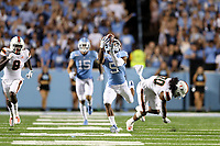 CHAPEL HILL, NC - SEPTEMBER 07: Dazz Newsome #5 of the University of North Carolina catches a pass during a game between University of Miami and University of North Carolina at Kenan Memorial Stadium on September 07, 2019 in Chapel Hill, North Carolina.