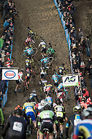 Steep climbing at the Belgian National CX Championships.<br /> <br /> Men's Elite Race<br /> Belgian National Cyclocross Championships 2018 / Koksijde