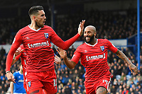 Conor Wilkinson of Gillingham (l) celebrates scoring Gillingham 's first goal with Josh Parker of Gillingham (r)  during Portsmouth vs Gillingham, Sky Bet EFL League 1 Football at Fratton Park on 10th March 2018