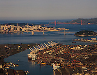 aerial photograph Port of Oakland toward San Francisco, California
