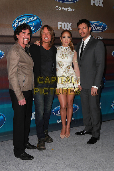 LOS ANGELES, CA - MARCH 11: Scott Borchetta, Keith Urban, Jennifer Lopez, Harry Connick Jr. at Fox's 'American Idol XIV' Finalist Party at The District Restaurant on March 11, 2015 in Los Angeles, California. <br /> CAP/MPI/DC/DE<br /> &copy;DE/DC/MPI/Capital Pictures