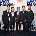 Benj Pasek, Alex Lacamoire, Michael Greif, Steven Levenson and Justin Paul attends the Broadway Opening Night Performance of 'Dear Evan Hansen'  at The Music Box Theatre on December 4, 2016 in New York City.