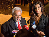 Chairman of the Republican Hindu Coalition Rohit Kumar speaks with the press following his meeting with United States President-elect Donald Trump, in the lobby of Trump Tower in New York, NY, USA December 15, 2016. <br /> Credit: Albin Lohr-Jones / Pool via CNP