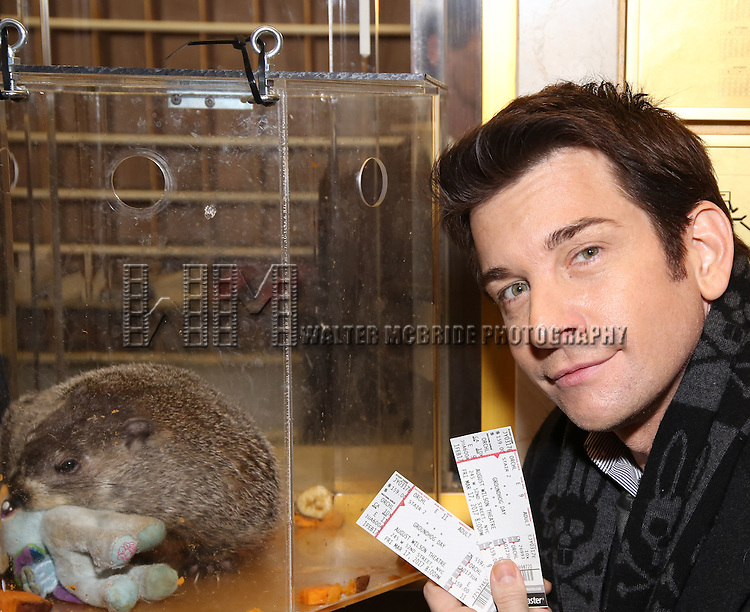"Andy Karl with Staten Island Chuck visit the ""Groundhog Day'' opening day box office at The August Wilson Theatre on February 2, 2017 in New York City."