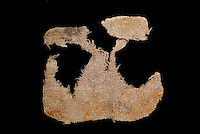 SAVEOCK WATER, CORNWALL, ENGLAND - AUGUST 03: A detail of the remains of a pocket on August 3, 2008 in Saveock Water, Cornwall, England. It was found in a votive pool by archaeologist Jacqui Wood who dates it between the medieval period to the 17th century (no carbon dating). (Photo by Manuel Cohen)