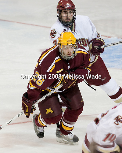Jay Barriball (Minnesota - 26), Benn Ferriero (BC - 21) - The Boston College Eagles defeated the University of Minnesota Golden Gophers 5-2 on Saturday, March 29, 2008, in the NCAA Northeast Regional Semi-Final at the DCU Center in Worcester, Massachusetts.