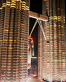 MALAYSIA, Kuala Lumpur, mid section of Petronas tower at night