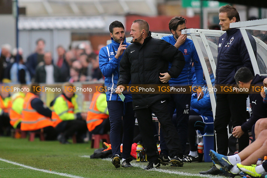 Lincoln City Manager, Danny Cowley, has words with 4th Official, Mr D Rock during AFC Wimbledon vs Lincoln City, Emirates FA Cup Football at the Cherry Red Records Stadium on 4th November 2017