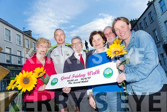 Kieran Donaghy with Mairead Fernane, Ted Moynihan, Mary Shanahan, Mícheál Ó Súilleabháin and Andrea O'Donoghue Launch  the Good Friday Walk for Kerry Hospice
