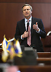 Nevada Sen. Greg Brower, R-Reno, speaks on the Senate floor at the Legislative Building in Carson City, Nev., on Wednesday, May 27, 2015. <br /> Photo by Cathleen Allison