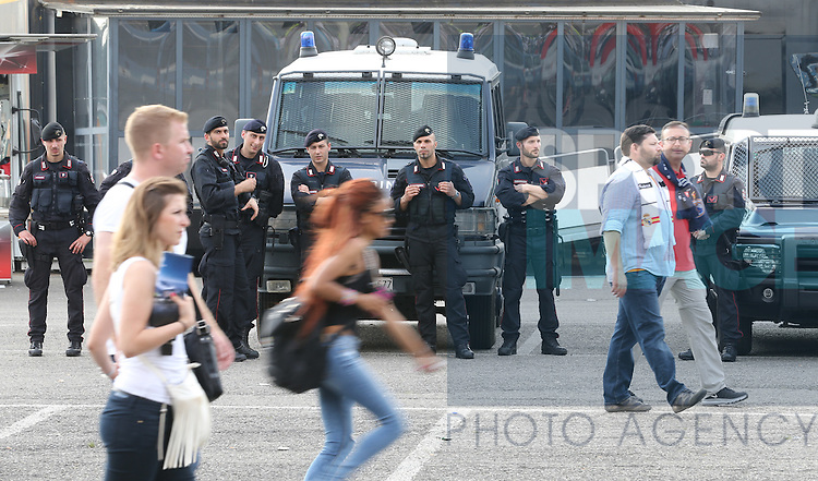 Armed police patrol the perimeter of the stadium as fans arrive during the UEFA Champions League Final match at the  Giuseppe Meazza Stadium, Milan, Italy. Photo credit should read: David Klein/Sportimage