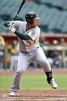 Oakland Athletics catcher Seongmin Kim (33) during an Instructional League game against the Arizona Diamondbacks on October 10, 2014 at Chase Field in Phoenix, Arizona.  (Mike Janes/Four Seam Images)