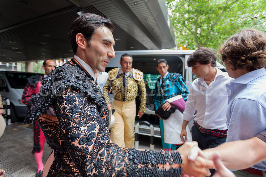 Fernando Cruz with one of his bullfighter''s assistant before leaving the hotel to go to the Bullfight Virgen de la Paloma festivity