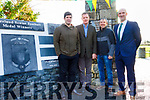 Eamon Fitzmaurice, Tim Murphy Chairman Kerr GAA, Peter Keane Kerry Manager, and Johnny Joy Chairman Finuge GAA at the Launch of the Wall of Achievement at Finuge GAA ground on Sunday morning.
