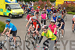 The large group of cyclists that took part in charity cycle in aid of Kerry Mountain Rescue and Kerry Hospice at Killarney Fire Station on Saturday.