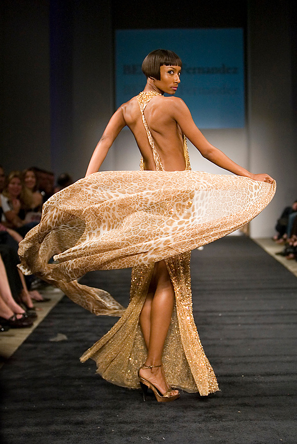 Miami, FL - April 10: A Model walks the runway wearing a Benito Fernandez Collection during the Miami Fashion Week 2008 at Soho Studios on April 10, 2008. (Photo by Jesus Aranguren)