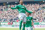 13.04.2019, Weser Stadion, Bremen, GER, 1.FBL, Werder Bremen vs SC Freiburg, <br /> <br /> DFL REGULATIONS PROHIBIT ANY USE OF PHOTOGRAPHS AS IMAGE SEQUENCES AND/OR QUASI-VIDEO.<br /> <br />  im Bild<br /> <br /> 2:0 kopfball Theodor Gebre Selassie (Werder Bremen #23) <br /> <br /> jubel <br /> Milos Veljkovic (Werder Bremen #13)<br /> <br /> Foto © nordphoto / Kokenge
